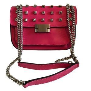 Hotwind Hot Pink Studded Chain Mini Crossbody Bag